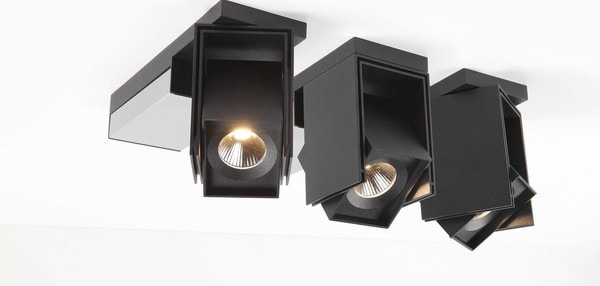 Modular Lighting Rektor LED Tre Dim GI MO 12826162 Noir structuré / Aluminium brossé